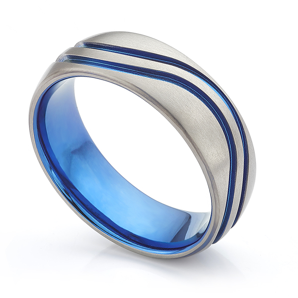 Blue Wave Zirconium Wedding Ring
