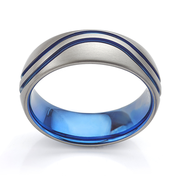 The Blue Wave Wedding Ring Side View
