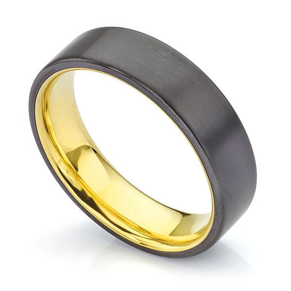 Oro Black Zirconium Wedding Ring with Yellow Gold Sleeve