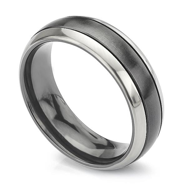 Magpie black and white zirconium wedding ring