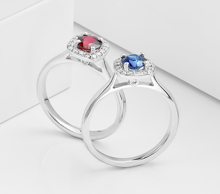 Blue Sapphire and Red Ruby Engagement RIngs