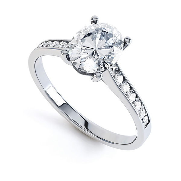 Faith-Oval Solitaire with Diamond Shoulders - perspective