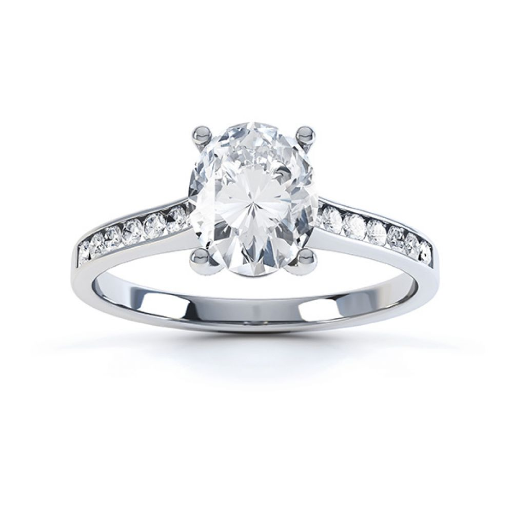 0.80cts Oval Diamond Engagement Ring Diamond Shoulders