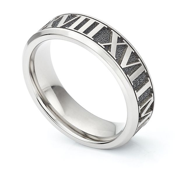 Roman Numeral Wedding Bands: Roman Numeral Wedding Ring With Deep Relief Engraving
